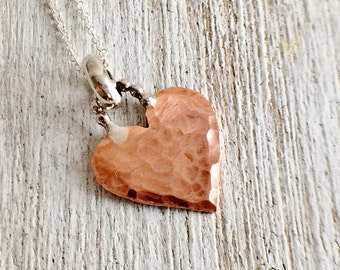 Tiny Heart Necklace - Copper - Heart Pendant - Gift for Women - Copper Heart Charm