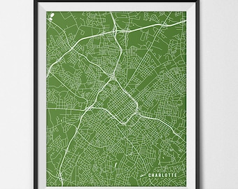 Charlotte Map Print, Charlotte Poster of North Carolina Map of Charlotte Print Gift, UNC Charlotte Print College Dorm Room Art