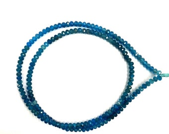 """Natural Faceted 18"""" Strand Neon Apatite Rondelle Beads 3.5mm Gemstone Beads"""