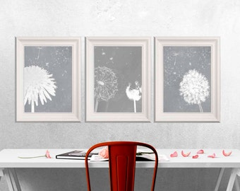 Gray Dandelion decor Gray Flower wall art Gray white Home decor Set of 3 Abstract flower prints Set of 3 Gray Bedroom canvas art DOWNLOAD