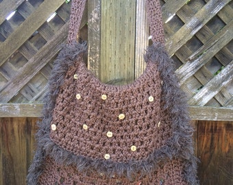 Big Brown Boho Crochet Messenger Bag with Furry Fringe