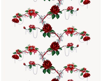 Tablecloth white burgundy red flowers Scandinavian table decor , napkins , runner , pillow , curtains  available, great GIFT