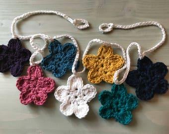 Multicolored crochet flower garland