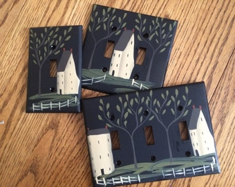 Primitive Hand Painted Black Switch Plate Covers with Saltbox and Colonials!