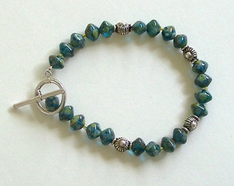 Teal, Yellow, Brown, and Green Bicone Shaped Czech Glass Beads by Carol Wilson of Je t'adorn