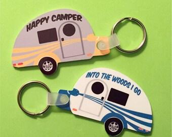 T@G Teardrop Trailer Key Tag Customized Key Chain, Custom Tab Key Fob, Monogrammed Vintage Clamshell Trailer Key Chain Tab Key Chain