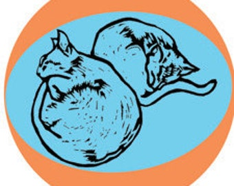 "CATS - 2"" round retro STICKERS of 5 cats in different poses by Nicole Straburg"