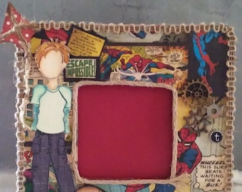 Altered frame,  Wood picture frame, mixed media wood frame,keepsake frame, Spiderman frame