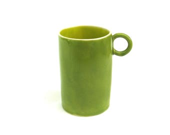 festive hand built porcelain cup ...  happy kiwi green and chartreuse ceramic mug