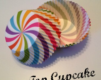 Rainbow Swirl Cupcake Liners