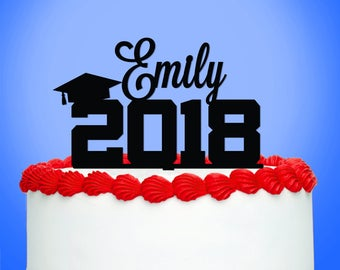 Graduation Cake Topper, Graduation Party Decorations, Personalized Graduate with Year Acrylic Cake Topper - Set of 1