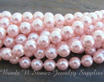 Swarovski Crystal 6mm Round Pearls 5810 - Rosaline Pink - 25 PCS