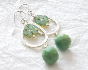Mint Green Four Leaf Clover Picasso Czech Bead & Agate Briolette Drop Brushed Abstract Oval Frame Earrings, The Daylily Earrings