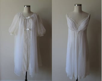 50's-60's white peignoir set / Shadowline Chiffon grecian gown and robe set size small