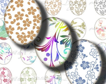 Japanese Design White (1) Digital Collage Sheet with Voguish multicolor motifs on white  30 motifs 63 Ovals 18x25mm - See Promo Offer