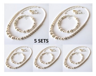 Bridesmaid Jewelry Set of 5 - Wedding Jewelry, Bridesmaid Gift Set of 5, Pearl Necklace Bracelet Earring Set, White or Ivory Pearl