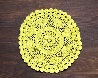 Lime green hand dyed Crochet Doily Vintage doily