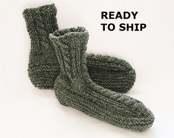 Mens Slippers, Green Adult Bedsocks Tweed Camo Handknitted High Cuff,  Size 9 - 10