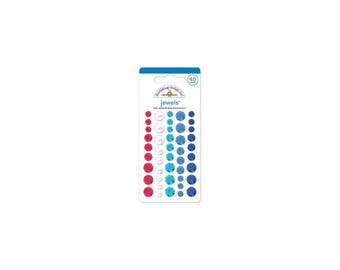 Doodlebug   Yankee Doodle Collection   Adhesive Jewels Round   Red, White & Blue