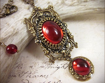Renaissance Necklace, Ruby Jewel, Medieval Pendant, Red Necklace, Medieval Necklace, Tudor Costume, Renaissance Costume, Ready to Ship
