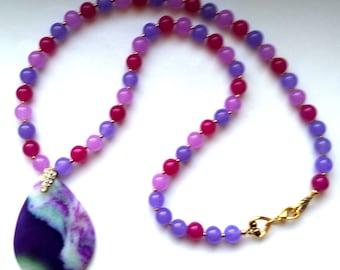 Purple Agate and Genuine Jade Beaded Necklace, Gemstone Pendant for Her, Purple& Pink Jade Necklace- OOAK Necklace by enchantedbeads on Etsy