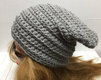 Crochet Slouchy Hat, Slouch Hat, Ribbed, Chunky Hat
