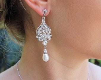 Bridal Chandelier Earrings, Swarovski Crystal & Pearl Wedding Earrings, Wedding Jewelry, Bridal Jewelry, Bridesmaid Earrings LUCY