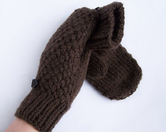 Brown wool mittens for adult woman man teens unisex Winter gift Warm and cozy Large extra large size L XL XXL