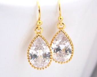 Wedding Jewelry, Glass Earrings, Crystal Earrings, Clear, Gold, Bridesmaid Earrings, Bride Earrings, Bridal Earrings, Bridesmaid Gifts