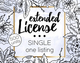 Single Commercial License for ONE listing in our shop / Valid for up to 500 units sold / No Credit Required Extended License TWGDesigns