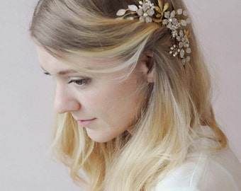 Bridal floral comb - Garden floral comb - Style 604 - Ready to Ship