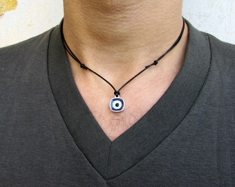 Evil Eye Necklace Pendant, Protection Leather Necklace, Dainty Eye Necklace, Silver Evil Eye Pendant, Best Friend, Boyfriend Gift Adjustable