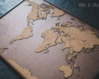 Cork world map etsy lasercut and handmade cork push pin world map wall art with laminated walnut wood frame gumiabroncs Images