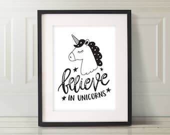 Believe In Unicorns Nursery Kids Art | Unicorn Nursery Art | Unicorn Wall Art | Unicorn Print | Unicorn Wall Art | Unicorn Art | Nursery Art