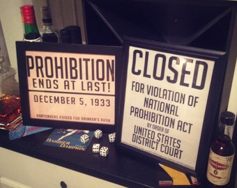 Printable Prohibition & Closed Signs - Great Gatsby, Roaring 20's Party, Whiskey Bar, DIY Instant Download Typography Print