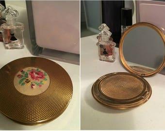 Vintage Petit Point Inset Brass Compact