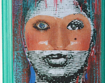 collage art miniature aceo art block on wood surreal portrait