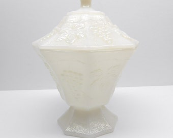 Vintage Milk Glass Pedestal Candy  Dish