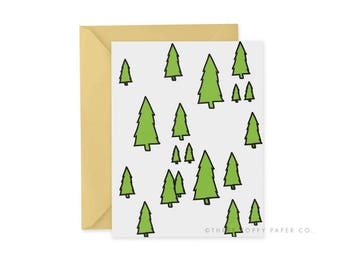 Evergreen Card, Christmas Card, Holiday Card, Blank Note Card, Pacific Northwest, Thank You Card, Note Card Set, Gold Envelope, Notes