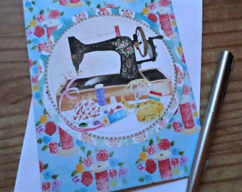 Sewing Machine to sew sewing greeting card handmade 12.5 cm x 17 cm