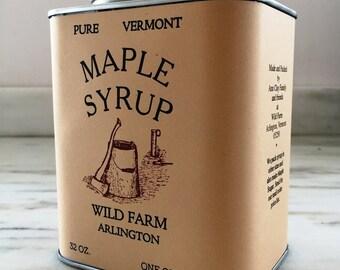 1 Quart (32 oz) Tin of Wild Farm Pure Vermont Grade A Maple Syrup