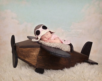 Newborn Baby Girl Aviator Hat w Goggles and Scarf - Fly - Airplane Hat - Photo Prop - ANY Colors - Earflap Hat
