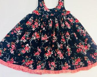 Girls Scoop Back Dress Navy Dusty Rose Floral Summer Dress