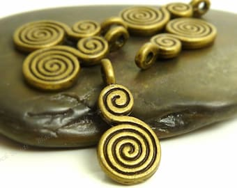 15 Swirl Calabash Charms Double Sided Antique Bronze Tone Metal - 8x18mm - Spiral Calabash  - BC23