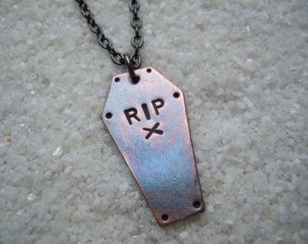 Copper Coffin Necklace Macabre Jewelry  #3  Day of the Dollies