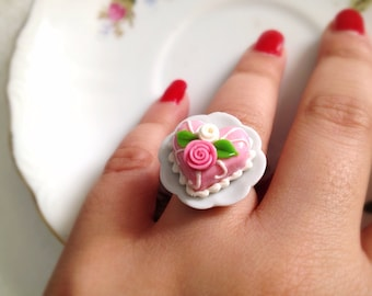 Miniature Pink Cake on a Plate Adjustable Ring. Birthday Treat. Sweet Yummy Miniature Cake. Kawaii Colorful Adjustable Brass Ring. Heart.
