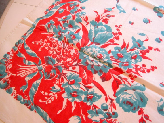 Red Floral Tablecloth, 50's Red Aqua Colors, Roses Cotton, 40 Inch Square