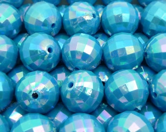 20mm Pearlized Steel Blue Faceted Disco Ball Beads - 10pcs - Candy Color Beads, Chunky Bubblegum Beads, Round Acrylic Beads - BR4-5