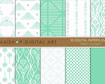 Digital Paper 'Mint Orchid' Green Mint and White Digital Backgrounds for Invites, Cards, Paper Bags, Envelopes, Scrapbook..