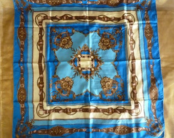 Vintage Carven Paris blue, yellow and brown silk scarf, 1950s scarf, pure silk square scarf